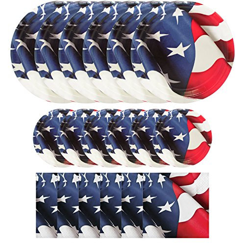 Patriotic Party Supplies for 48 Guests (48 Dinner Plates, 48 Dessert Plates, 96