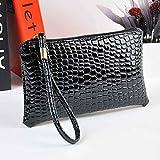 IEason Women Shoulder Bag, Women Crocodile Leather Clutch Handbag Bag Coin Purse (Black)