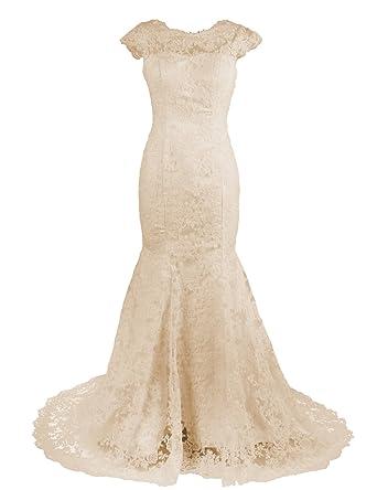 Mermaidtalee White Ivory Champagne Mermaid Lace Wedding Dresses ...