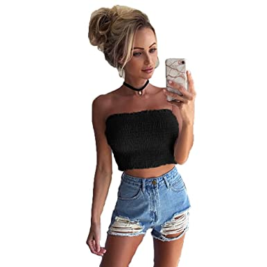 c0f96884b9 Longra Women Sexy Hot Strapless Elastic Boob Bandeau Tube Tops ❤ Sleeveless  Bra Lingerie Breast Wrap Vest T-Shirt Red  Amazon.co.uk  Clothing