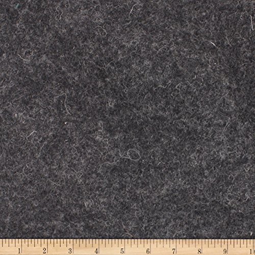 TELIO Boiled Wool Knit Fabric by the Yard, Charcoal -