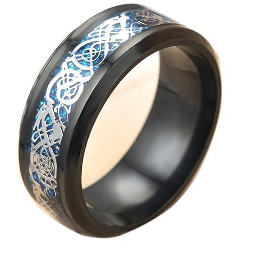 Amazon.com: qiao la negro dragón Celta anillos para hombre ...