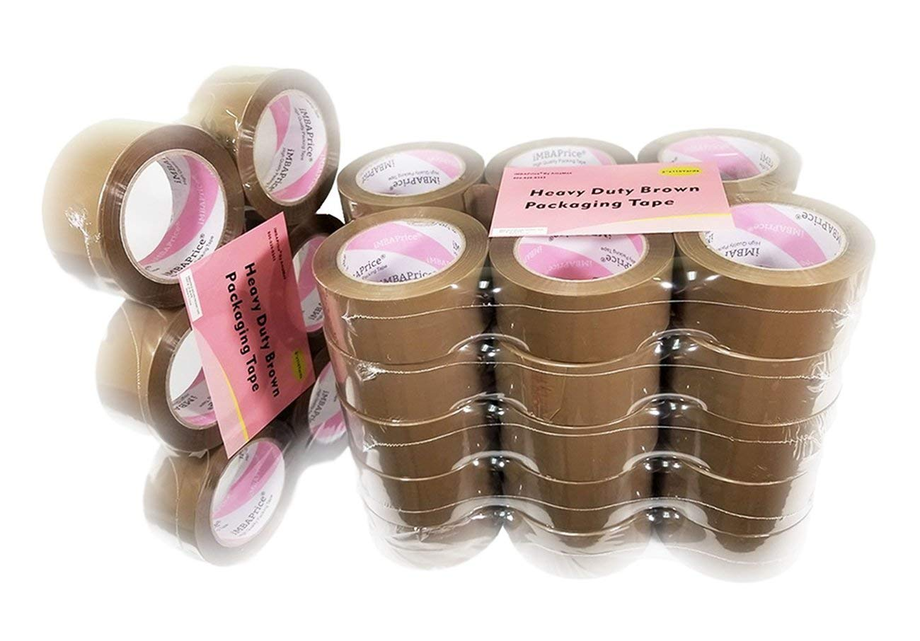 3 Inch x 110 Yards Tan Brown Pack of 12 Rolls Heavy Duty Hot Melt Adhesive Tape Roll 2.5 Mil Thick Packaging Tape