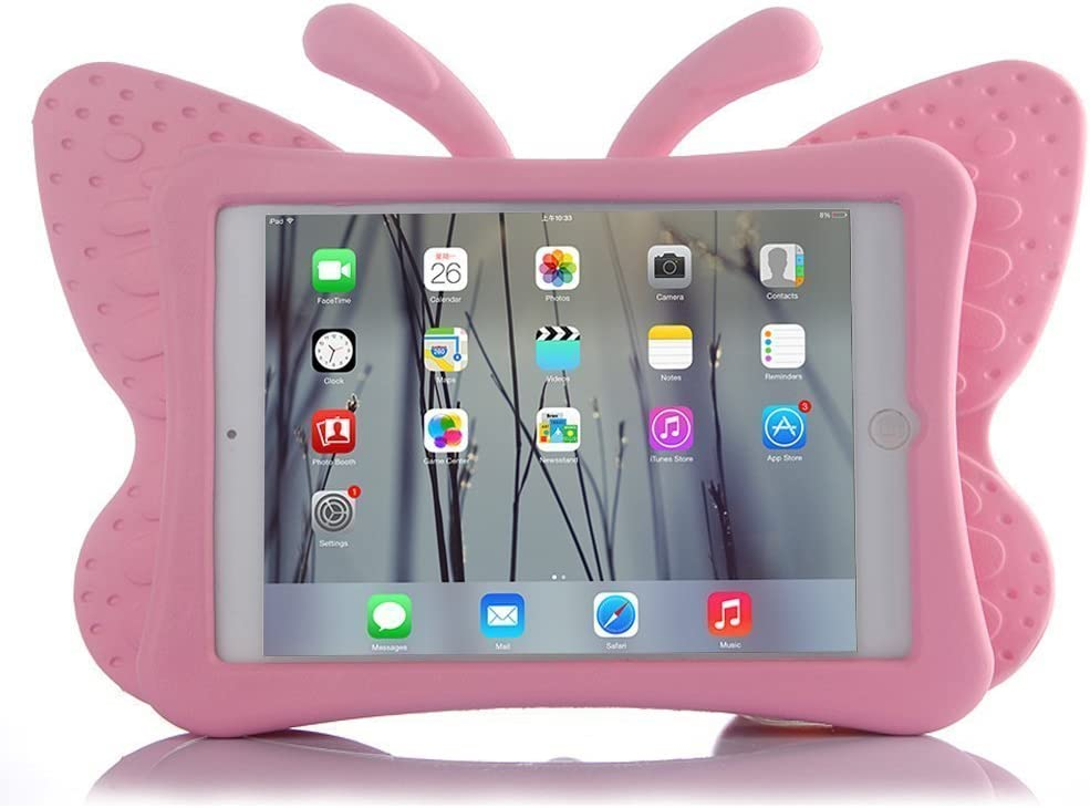 HCHA New iPad 9.7 2017 Case for Kids iPad Air Kids Cases Light Weight Shock Proof Protection Cases Protective Butterfly Cases Cover for New iPad 2017 Apple iPad Air/Air 2 /iPad Pro 9.7 Inch (Pink)