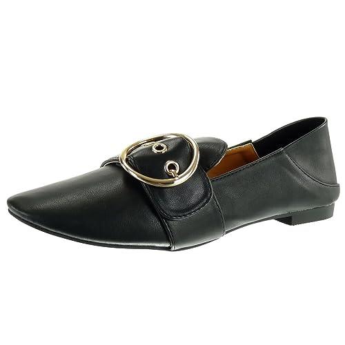 Angkorly - Zapatillas Moda Mocasines Slip-on Mujer Hebilla Dorado Tacón Ancho 1 CM: Amazon.es: Zapatos y complementos