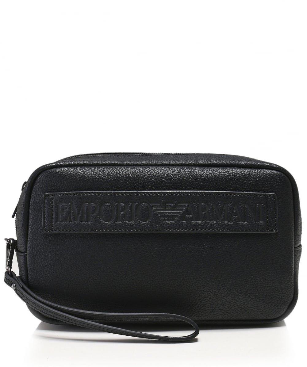 Emporio Armani Men's Maxi Logo Wash Bag Black One Size