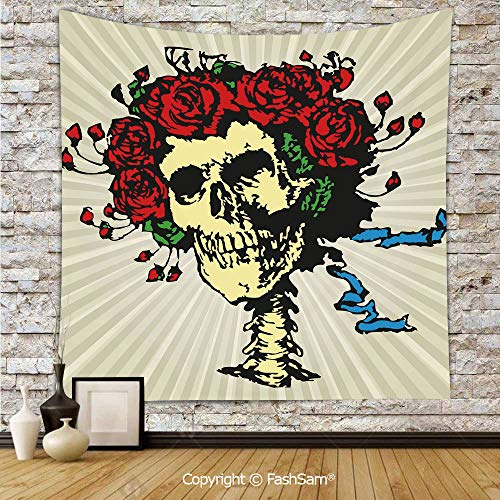 FashSam Polyester Tapestry Wall Tattoo Art Style Graphic Skull in Red Flowers Crown Halloween Composition Print Decorative Hanging Printed Home Decor(W59xL78) ()
