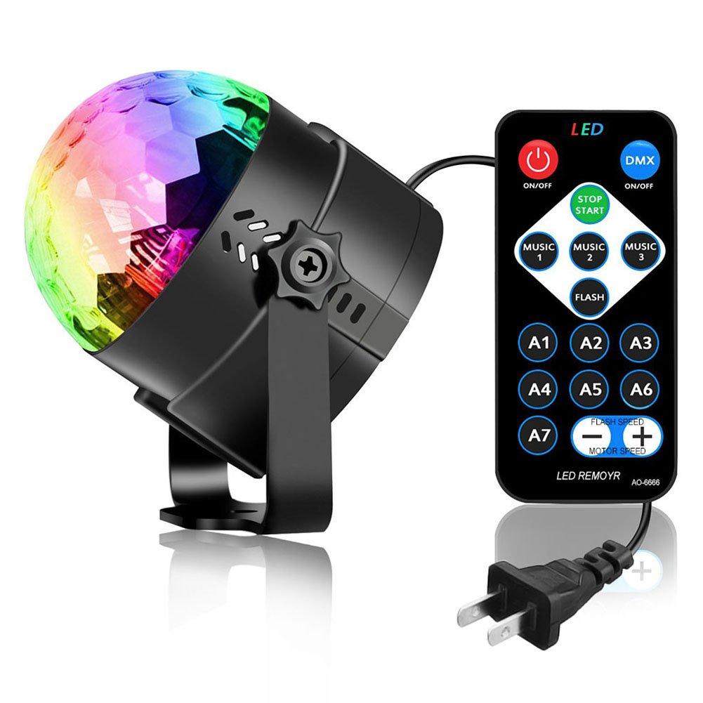 Zehui LED Party Lights Stage Lamp RGB Sound Activated Lamp Karaoke Machine Strobe Dance Light Disco DJ Ball Lights 3W US Plug
