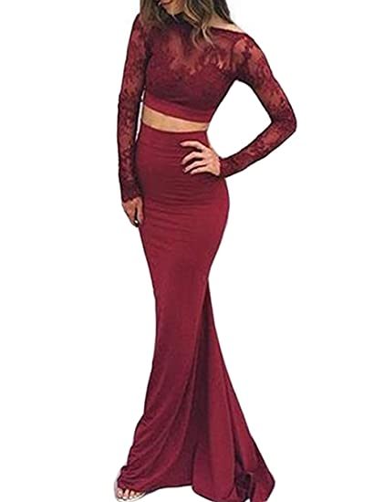 Red Long Sleeve Prom Dress Backless Dress Lace Two Piece Long Evening Dress