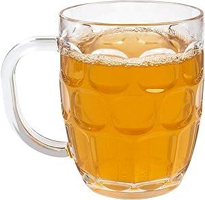 Pack of 8, EPT 20 oz Plastic Beer Mugs, Dimple Stein Beer Glasses, BPA Free, Dishwasher Safe