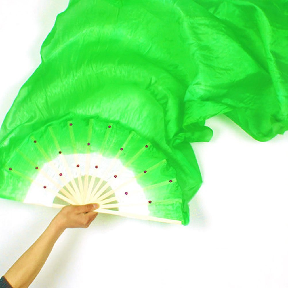 Veil Silk Fan,Dance Costume Bamboo Long Silk Fans for Women Woopower