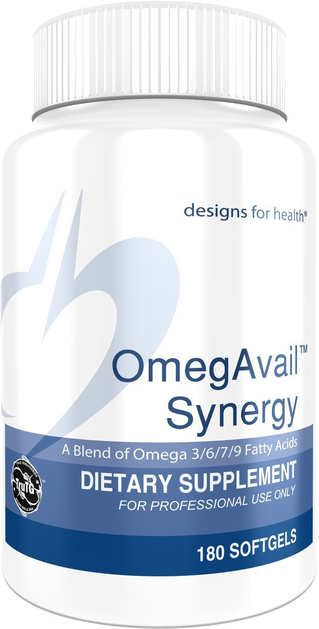 Designs for Health OmegAvail Synergy - Omega 3-6-7-9 Fatty Acids + Triglyceride (T Grams) Fish Oil Capsules (180 Softgels)