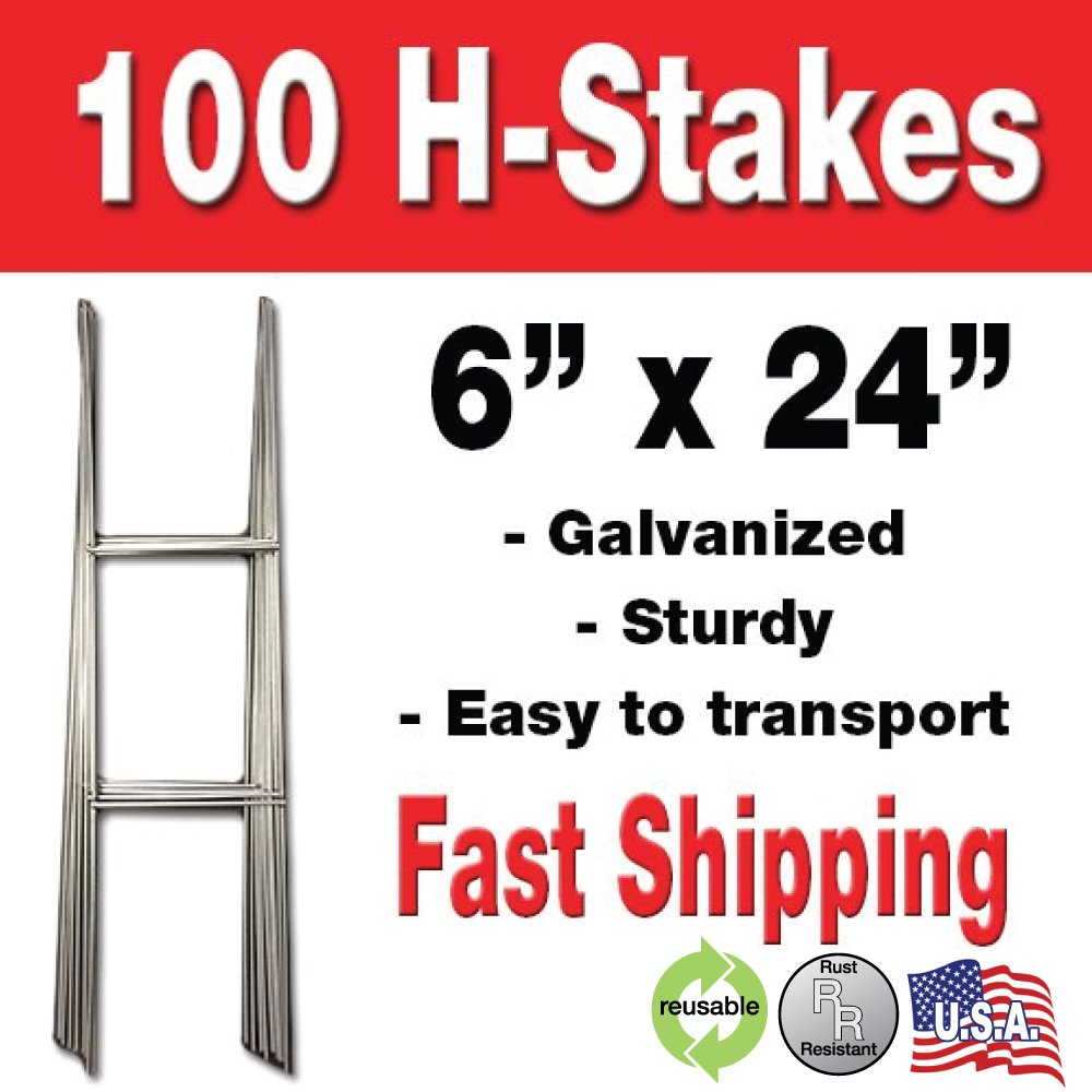 Visibility Signage 100 Quantity H-stakes for Political Campaigns or Real Estate metal Lawn Yard Sign 6 x 24
