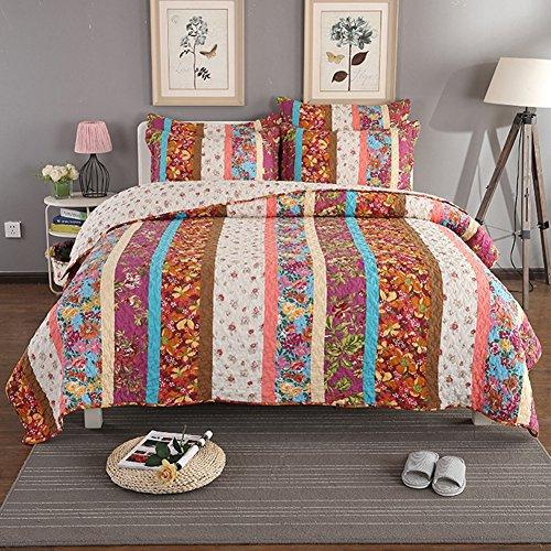 Patch Quilt Garden - NEWLAKE Cotton Patchwork Bedspread Quilt Sets, Garden Flower with Rainbow Stripes Pattern, Queen Size