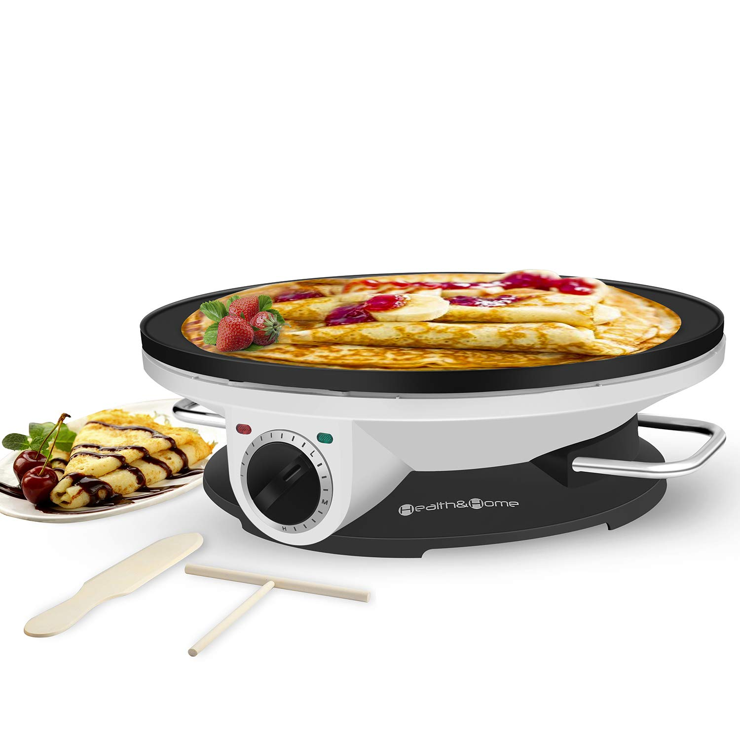 Health and Home Crepe Maker - 13 Inch Crepe Maker & Electric Griddle - Non-stick Pancake Maker by Health and Home