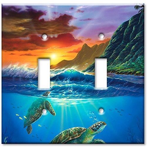 Double Gang Toggle Wall Plate - Sea Turtles