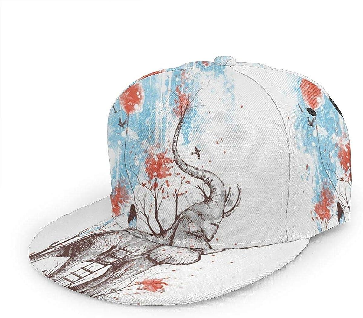 Girl Sit On Elephant Art Design Lightweight Unisex Baseball Caps Adjustable Breathable Sun Hat for Sport Outdoor Black