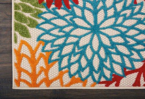 """Nourison Aloha Indoor/Outdoor Floral Green 2'3"""" x 10' Area Rug Runner (2'x10')"""