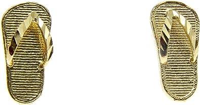 14k solid yellow gold 5.4mm Hawaiian slipper flip flop thong earrings
