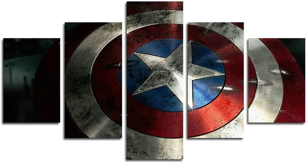Leyrus 5 Piece Captain America Shield Painting for Living Room Home Decor Canvas Art Wall Poster (No Frame) Unframed YSH048 50 inch x30 inch