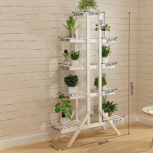 MEIFUO Plant Stand Multi-Layer Solid Wood Floor Flower Rack Balcony Living Room Simple Assembly Flower Rack Indoor Shelves(Wood Color/White) (Color : #6)