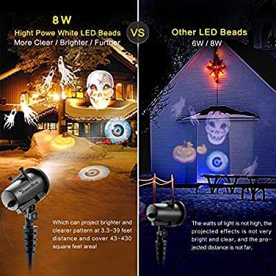 Christmas Projector Lights Outdoor, ALLOMN Waterproof Rotating Landscape Decorative Spotlight with Timer Function, Speed/Flash Control, 20pcs Gobo Slides