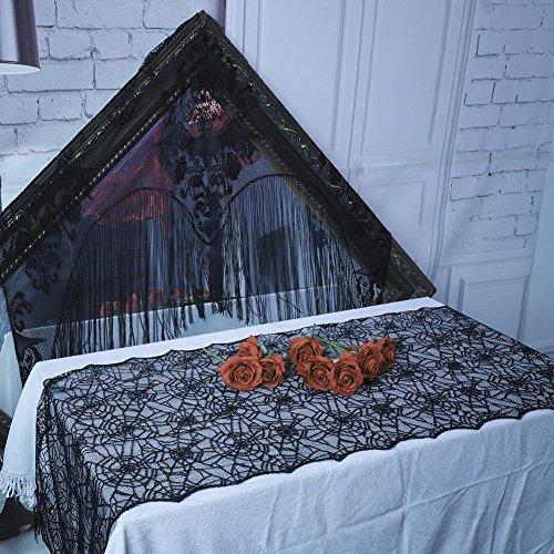 Smartcoco Halloween Black Lace Spider Web Table Flag Spooky Meals Decoration, 18