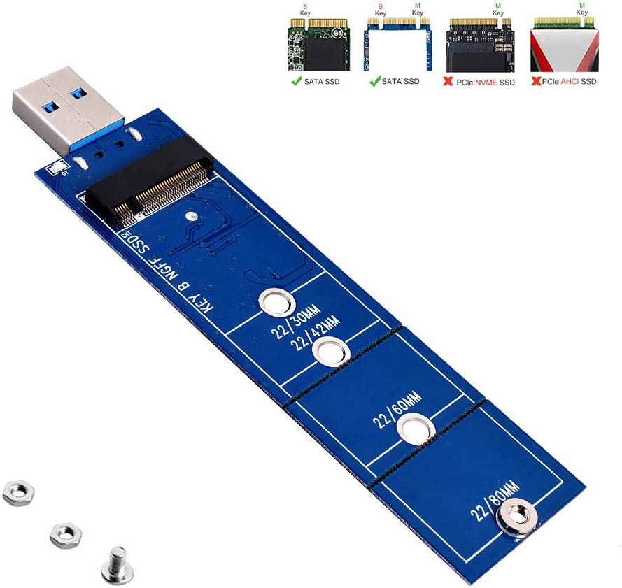 JESOT M.2 to USB Adapter, B Key M.2 SSD to USB 3.0 Reader Card, NGFF SATA Converter Support SATA Based SDD 2230 2242 2260 2280 No Cable Needed
