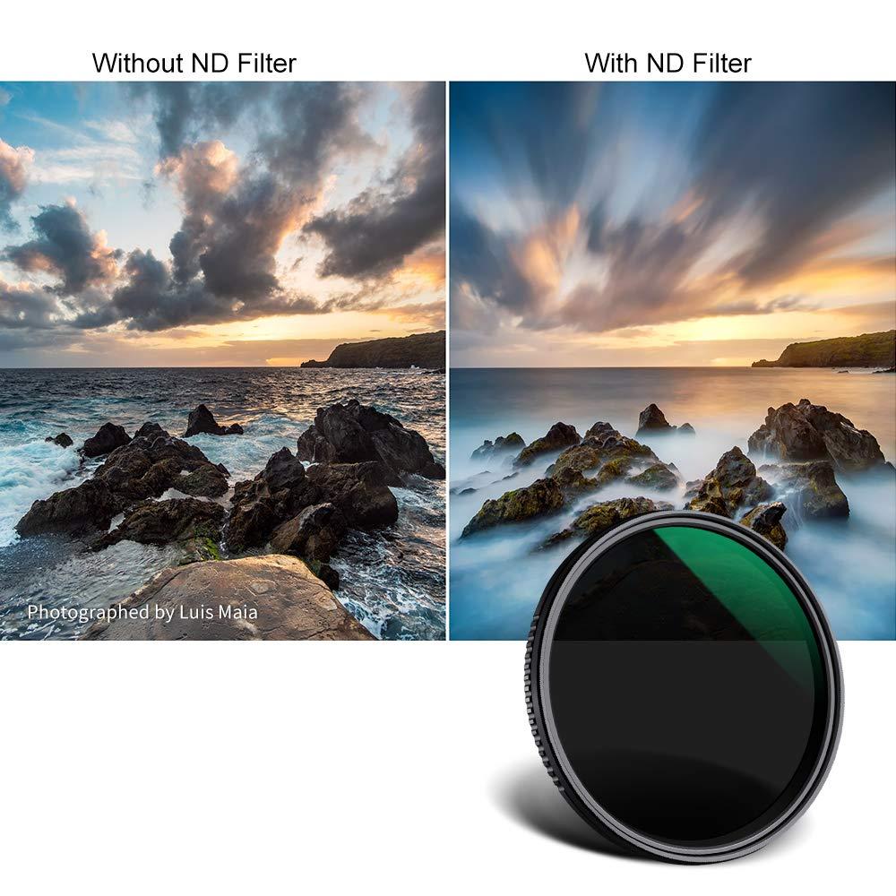 K/&F Concept 82MM Filtro ND variabile ND8-ND2000 Slim MRC 18 strati per fotocamera con obiettivo NO X Spot con custodia