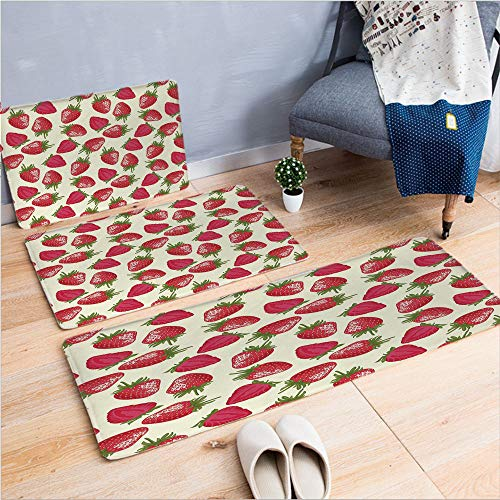 """3 Piece Non-Slip Doormat 3D Print for Door mat Living Room Kitchen Absorbent Kitchen mat,Plant Vitamin Organic Diet Refreshing Image,15.7""""x23.6""""by23.6""""x23.6""""by19.7""""x59"""",Coffee Table Carpet Window Mat"""