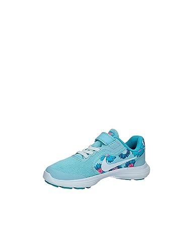 Amazon.com | NIKE Girls Revolution 3 Print (PSV) Pre-School Shoe Still Blue/White/Chlorine Blue Size 3 M US | Running