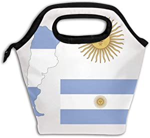 Lunch Bag Tote, Argentina Flag Soft Insulated Neoprene Food Container, School Office Travel Outdoor Work Lunchbox Handbag, Waterproof Food Storage Carrying Case