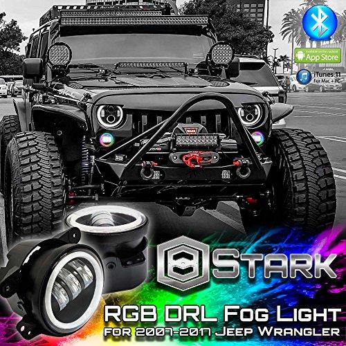 RGB Halo 4 inch LED Fog lights - Plug and Play LED Angel Eye Fog light Assembly with Bluetooth Function for 1997 to 2017 Jeep Wrangler JK CJ LJ