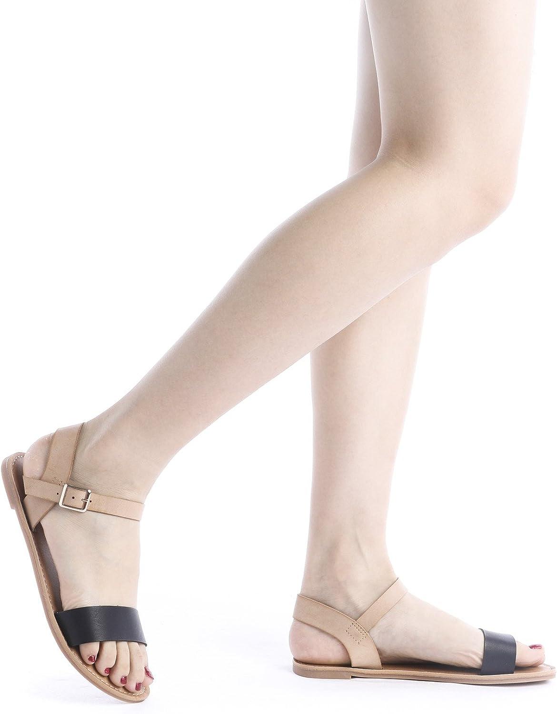 DREAM PAIRS ELASTICA Women Summer Fashion Design Open Toe Elastic Ankle Strap Gladiator Flat Sandals