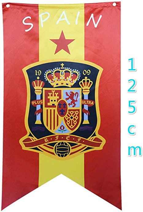 Baifeng Bandera de España de la Copa del Mundo, Creative 2018 de la Copa Mundial de la FIFA, diseño de máscara bandera bandera banderines banderines banderines para colgar: Amazon.es: Deportes y aire