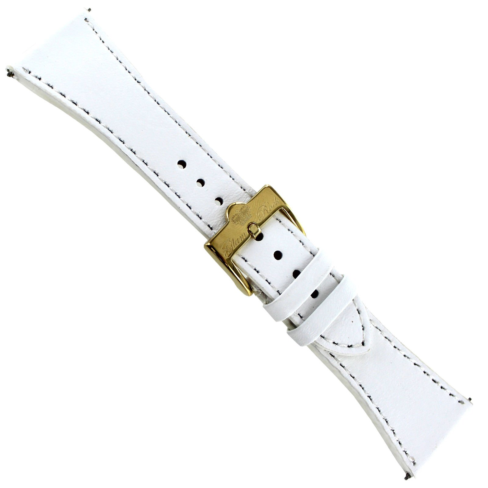 26mm Glam Rock White Thick Hand Made Genuine Leather Stitched Watch Band EZ PINS