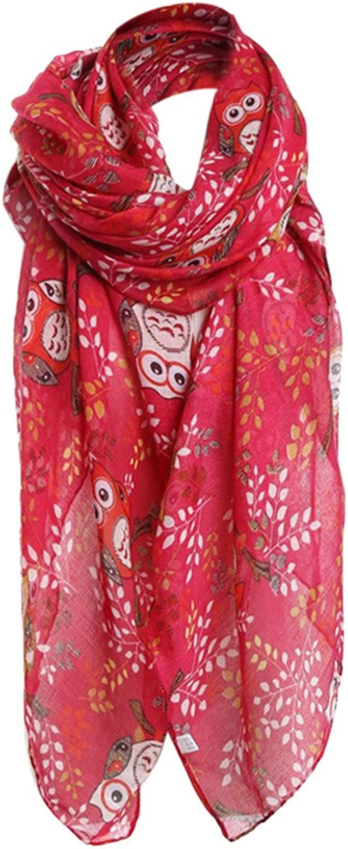 Uribake Women S Shawl Owl Print Pattern Soft Lace Long Scarf Warm Wrap Autumn Red At Amazon Women S Clothing Store