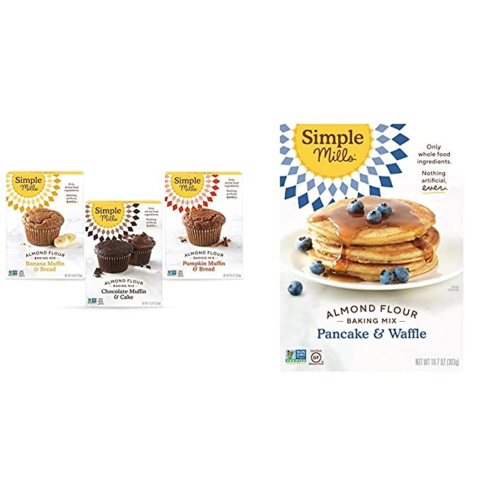 Simple Mills, Baking Mix Variety Pack, Banana Muffin & Bread, Chocolate Muffin & Cake, Pumpkin Muffin & Bread Variety Pack, 3 Count & Almond Flour Pancake Mix & Waffle Mix, Gluten Free