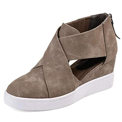 2019 best sell amazing price meet Xiakolaka Wedge Sneakers for Women Criss Cross Hidden Heel Wedge Shoes