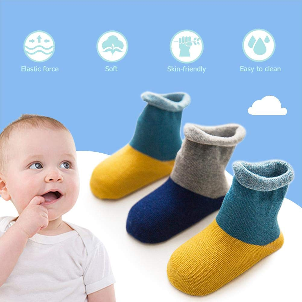 swanluck 3 Pair Kids Boys Girls Cotton Socks Winter Autumn Warm Baby Splicing Socks
