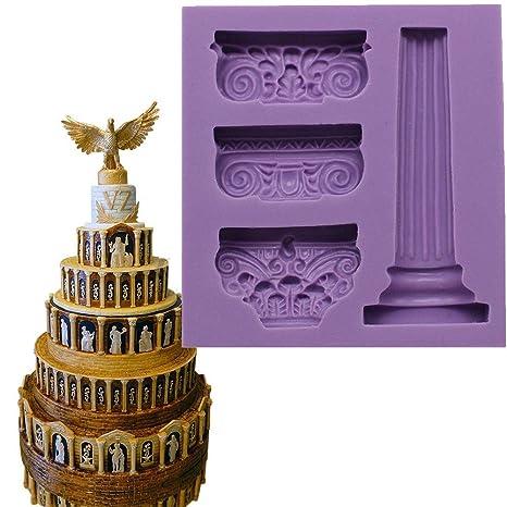 Anyana silicona romano columna pilar molde de silicona pasta de Chocolate Fondant Craft molde decoración de