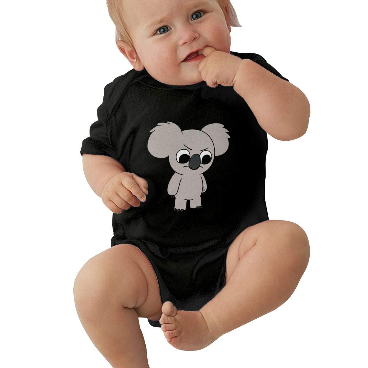 LuYiDa Baby Boys Girls O-Neck Short Sleeve Onesie Unnamed Funny Jumpsuit Black