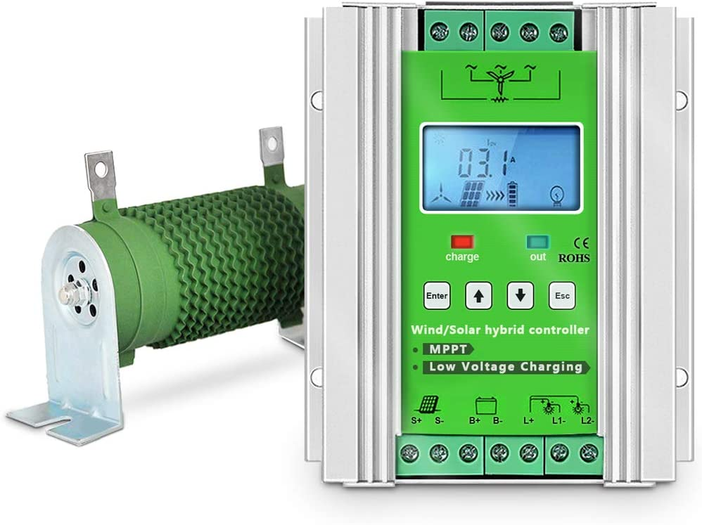 RS485 JNGE 48V Wind 1000w+Solar 800w Wind and Solar Hybrid Solar Controller with LCD Color Screen Display