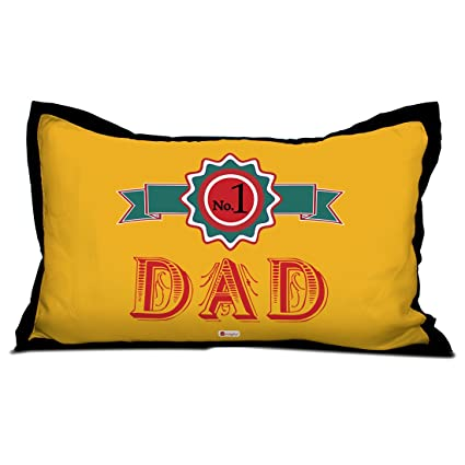 1 Dad Quote Best Father Badge Yellow Pillow Cover 17x27 Inches