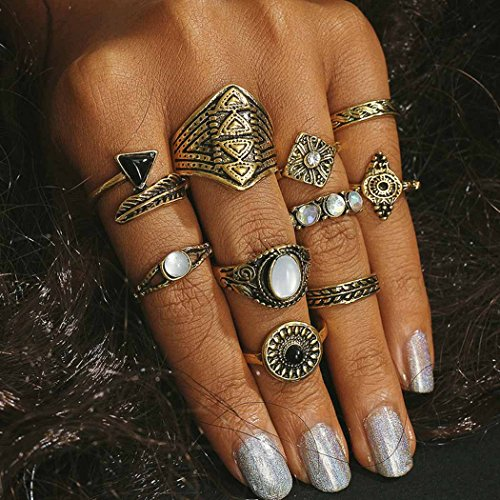 Aukmla Boho Style Ring Set Vintage Retro Style Above Knuckle Rings for Women and girls (Gold)