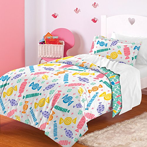 dream FACTORY Candy Comforter Set, Twin, White (Candy Bedding)