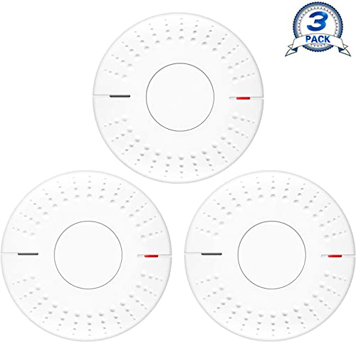 Elvicto 3 Pack Photoelectric Smoke Detector Sealed-in 10 Year Lithium, Battery-Operated Fire Alarm for Home