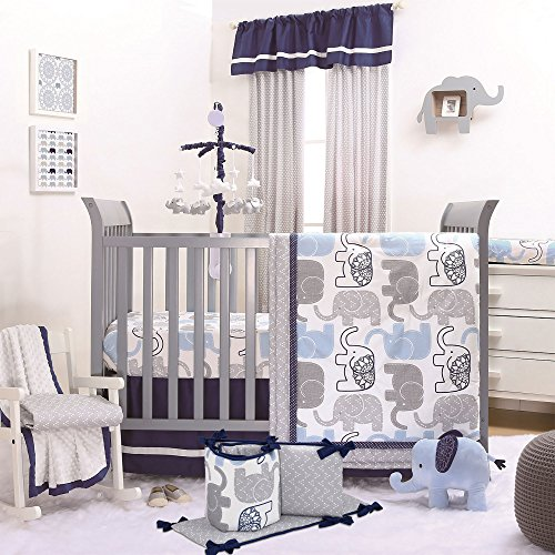 Little Peanut Navy Blue and Grey Elephants 5 Piece Baby Crib Bedding Set
