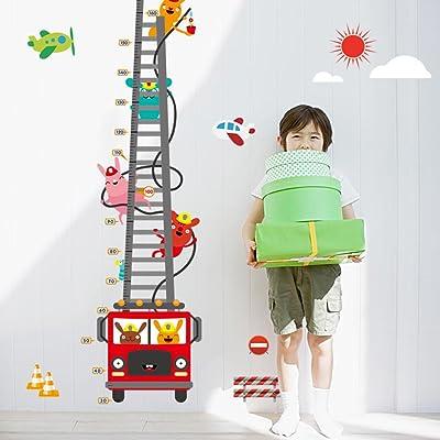 Wallpark Cute Rabbit Fireman Cartoon Fire Truck Height Sticker, Growth Height Chart Measuring Removable Wall Decal, Children Kids Baby Home Room Nursery DIY Decorative Adhesive Art Wall Mural: Baby