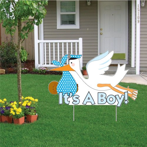"""VictoryStore Yard Sign Outdoor Lawn Decorations - It's a Boy"""" Die Cut Stork, Baby Announcement Yard Sign (Dark Skin Toned Baby) -"""